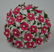 DEEP PINK WHITE 2-LAYERED sweetheart blossom Mulberry Paper Flowers